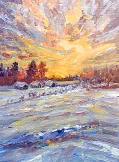Sunset in the Country 2020 16x12 Original Painting - Linda Woolven