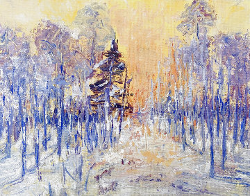 Golden Winter Forest 2020 8x10 Original Painting - Linda Woolven