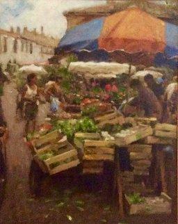 La Focells Market 2000 35x41 Original Painting by Leonard Wren