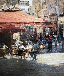 Cafe Et Pasteries 2002 37x47 Original Painting by Leonard Wren