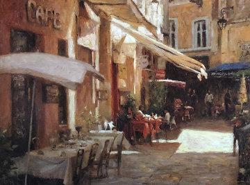 Cafe De Provence 2000 Embellished Limited Edition Print - Leonard Wren