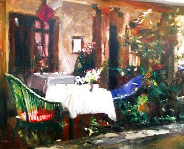 Carmel Cafe 2001 Embellished  Limited Edition Print - Leonard Wren