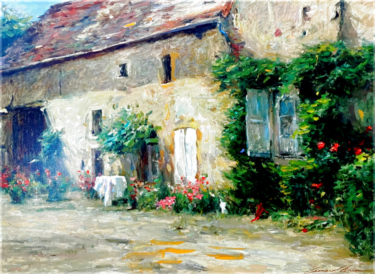 House in Burgundy 1999 Embellished Limited Edition Print by Leonard Wren