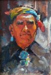 Untitled Portrait of a Native American Man Original Painting - Leonard Wren