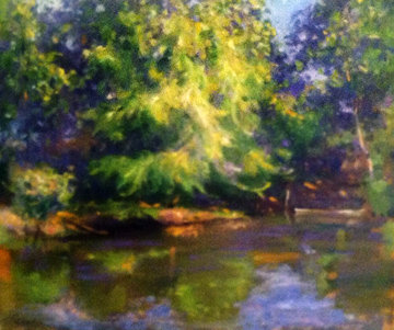Untitled Landscape 24x28 Original Painting - Leonard Wren
