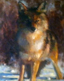 Untitled Fox 1990 19x15 Original Painting - Leonard Wren