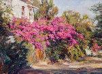 Provence Bougainvilla 2006 36x30 Original Painting - Leonard Wren