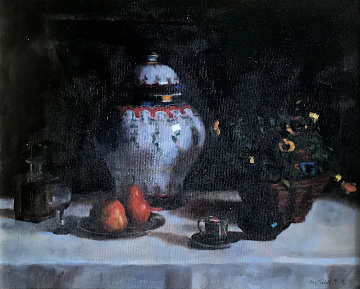 Untitled Still Life 1991 16x20 Original Painting - Wu Jian
