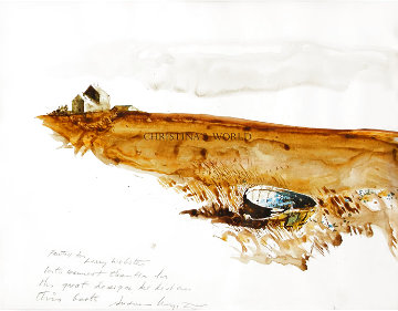 Christina's World  With Basket Watercolor 1982 17x20 Watercolor - Andrew Wyeth