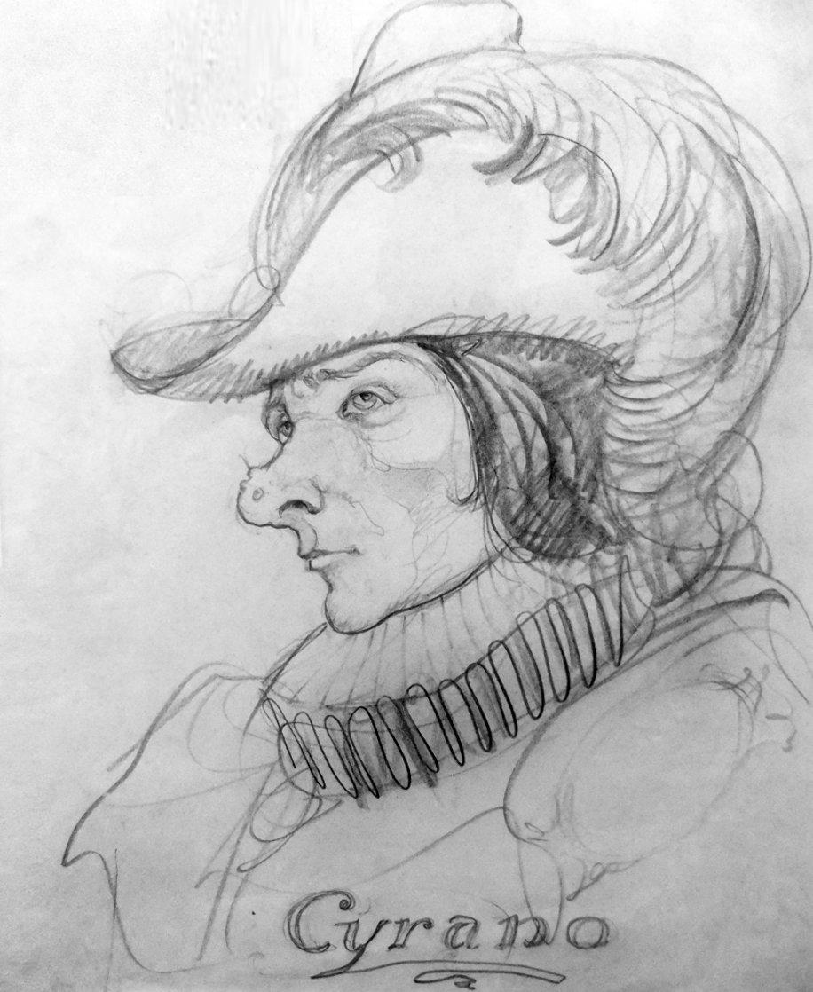Cyrano Drawing 1902 HS 20x17 Drawing by N.C. Wyeth