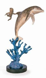 Water Baby Bronze Sculpture 1997 14 in Sculpture - Robert Wyland