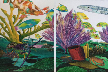 Coral Reef Life  Diptych 2005 Limited Edition Print by Robert Wyland
