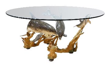Reef Visit Bronze End Table   1996 48x26 Huge Sculpture - Robert Wyland