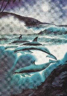 Above And Below AP 1992 Remarque: Moonlit Dolphins Limited Edition Print - Robert Wyland
