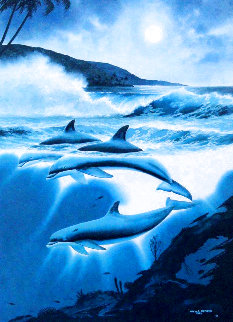Above and Below: Moonlit Dolphins AP 1992 w/ Remarque Limited Edition Print - Robert Wyland