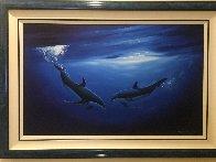 Dancing in the Deep Blue Sea 2000 58x40 Super Huge Original Painting by Robert Wyland - 1