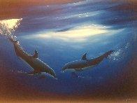 Dancing in the Deep Blue Sea 2000 58x40 Super Huge Original Painting by Robert Wyland - 2