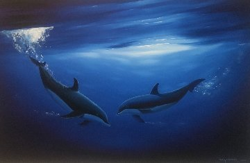 Dancing in the Deep Blue Sea 2000 58x40 Super Huge Original Painting - Robert Wyland