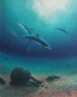 Children of the Sea II 1982 48x48 Huge Original Painting - Robert Wyland