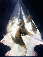 Light of Humpbacks Acrylic Sculpture  AP 21 in Sculpture by Robert Wyland - 0