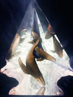 Light of Humpbacks Acrylic Sculpture  AP 21 in Sculpture - Robert Wyland