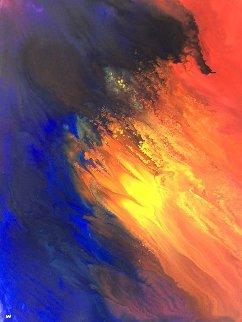 Fire And Sea 44x37 Huge  Watercolor - Robert Wyland