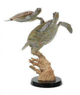 Turtle Dance Bronze Sculpture 1995 30 in Sculpture - Robert Wyland