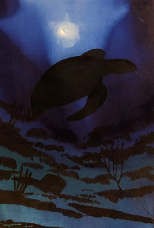 Turtle Reef Watercolor 2008 .33x25 Watercolor by Robert Wyland