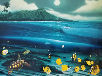 Diamond Head Moon 1996 Limited Edition Print by Robert Wyland