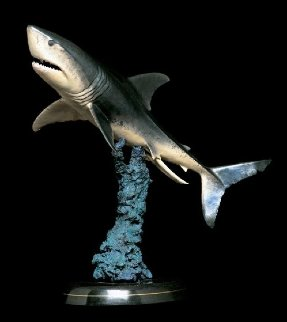 Great White II   Bronze Sculpture 1993 27 in Sculpture - Robert Wyland