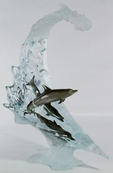 Dolphin Sea Acrylic Sculpture 2007 22 in Sculpture by Robert Wyland