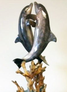Hugging Dolphins Bronze Sculpture AP 1997 17 in Sculpture - Robert Wyland