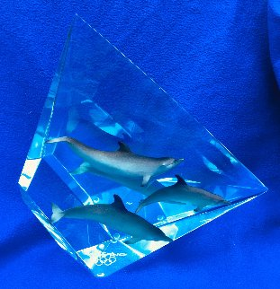 Faster Higher Stronger Lucite Sculpture 2007 12 in Sculpture - Robert Wyland