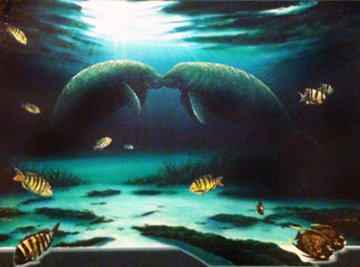 Manatee Encounter AP 2002 Limited Edition Print - Robert Wyland