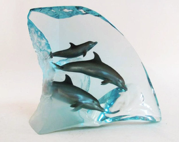 Dolphin Tribe Acrylic  Sculpture  AP 1998 14 in Sculpture by Robert Wyland
