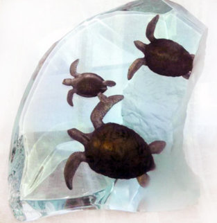 Turtle Tribe Acrylic Sculpture AP 2002 14 in Sculpture by Robert Wyland