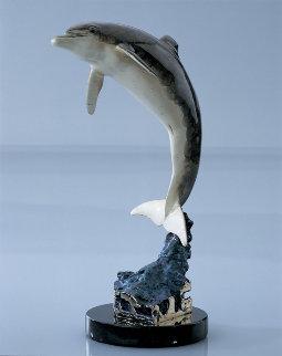 Dolphin Friendly Bronze Sculpture 1999 12 in Sculpture - Robert Wyland