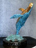 Humpback Breaching Bronze Sculpture 1991 9 in Sculpture by Robert Wyland - 1
