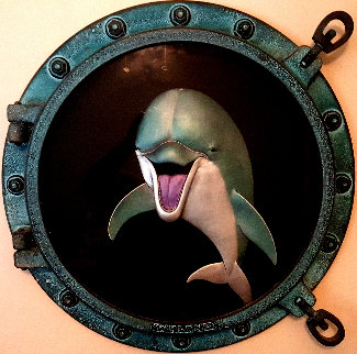 Dolphin Smile Porthole Wall Sculpture 1999 24 in Sculpture - Robert Wyland