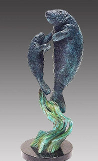 Endangered Manatees Bronze Sculpture 1995 17 in Sculpture - Robert Wyland
