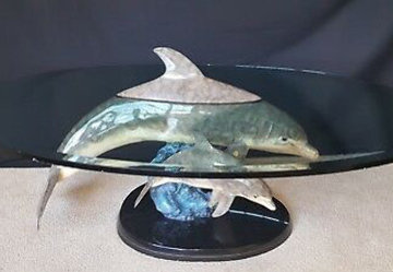 Above And Below Dolphin Coffee Table Bronze 1994 61 in Sculpture - Robert Wyland