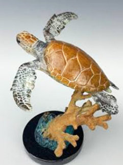 Endangered Sea Turtle Bronze Sculpture 1995 11 in Sculpture - Robert Wyland