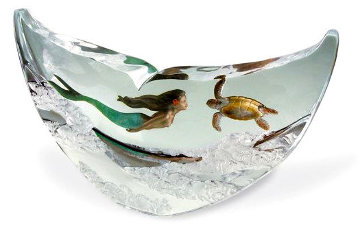 Mermaid and Turtle Lucite Sculpture 2003 15 in Sculpture - Robert Wyland
