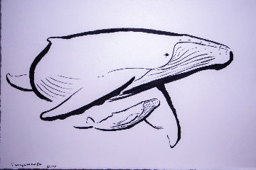 Humpback Mother And Calf Pen and Ink 2009 22x30 Original Painting - Robert Wyland