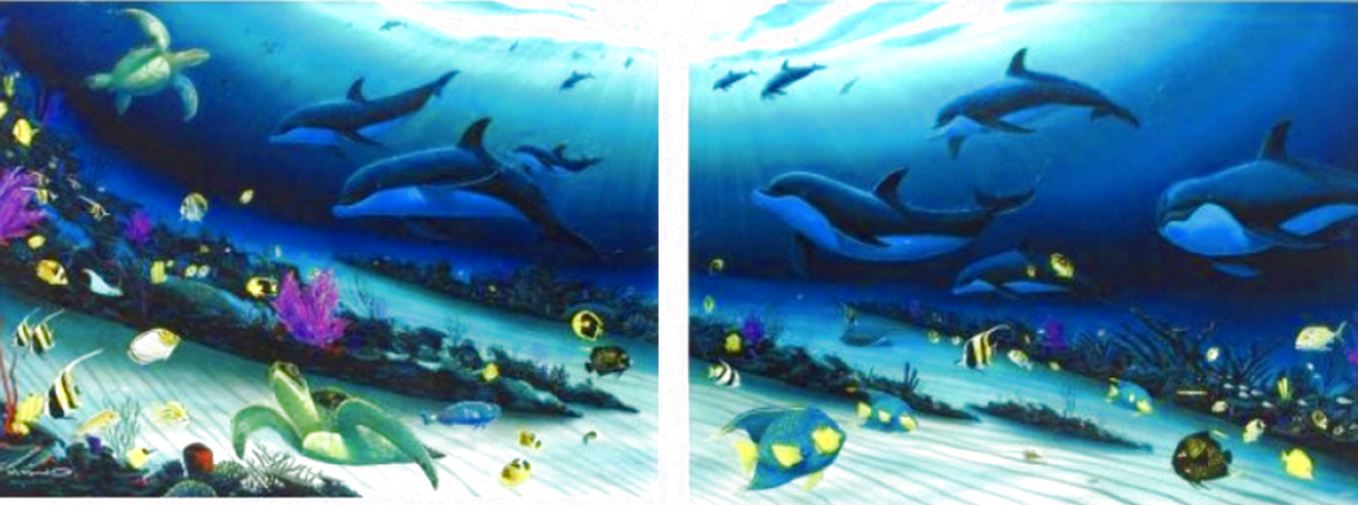 Radiant Reef  Diptych 2001 70x52 Super Huge Limited Edition Print by Robert Wyland