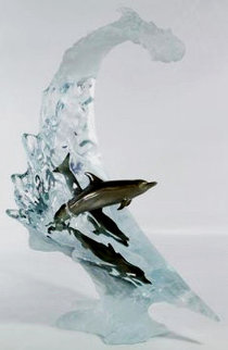 Dolphin Sea Lucite Sculpture 2007 22 in Sculpture - Robert Wyland