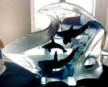 Orca Harmony Lucite Sculpture 2003 16 in Sculpture - Robert Wyland