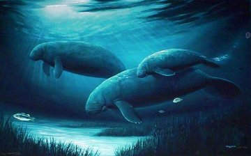 Endangered Manatees with Remarque Limited Edition Print - Robert Wyland