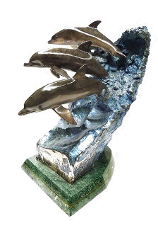 Wave Riders Bronze Sculpture 1992 18 in Sculpture - Robert Wyland