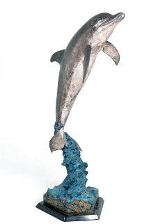 Friendly Dolphin Life Size Bronze Sculpture 1992 60 in Sculpture - Robert Wyland